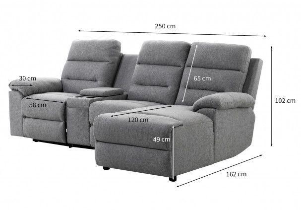Canapé d'angle droit relax manuel 3 places tissu gris chiné avec appuis tête Helane - Photo n°5