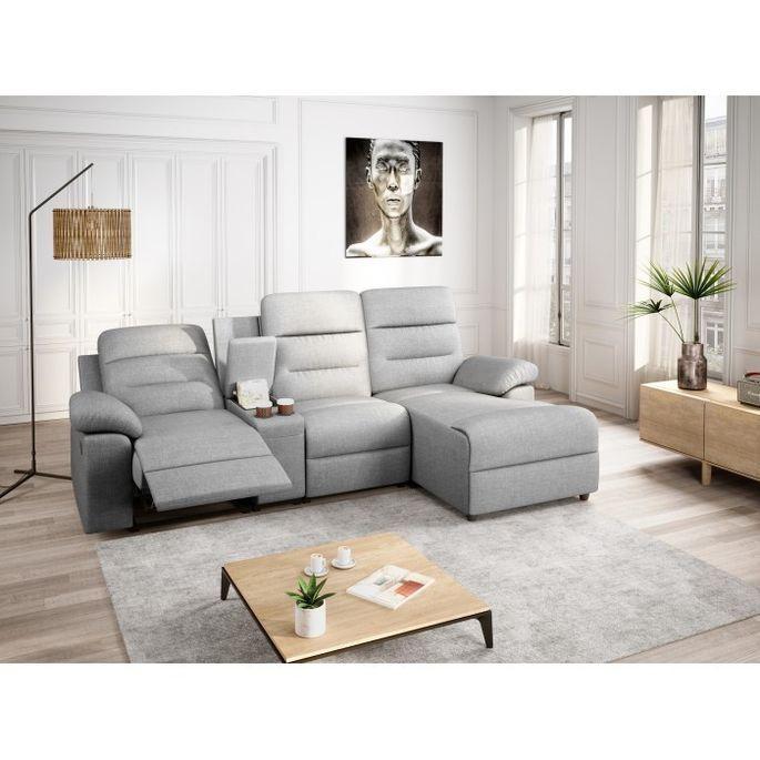Canapé d'angle droit relax manuel 3 places tissu gris chiné avec appuis tête Helane - Photo n°6