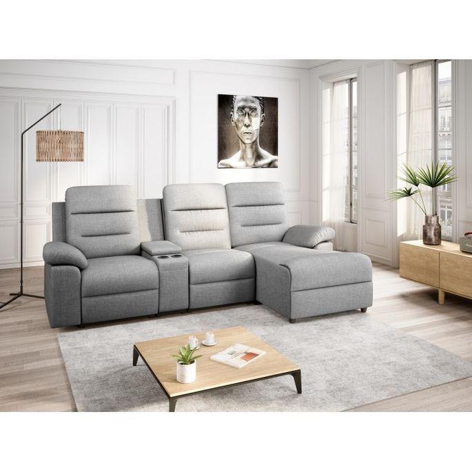 Canapé d'angle droit relax manuel 3 places tissu gris chiné avec appuis tête Helane - Photo n°7