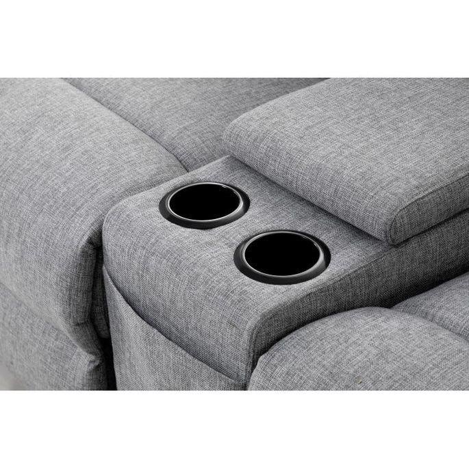 Canapé d'angle droit relax manuel 3 places tissu gris chiné avec appuis tête Helane - Photo n°8