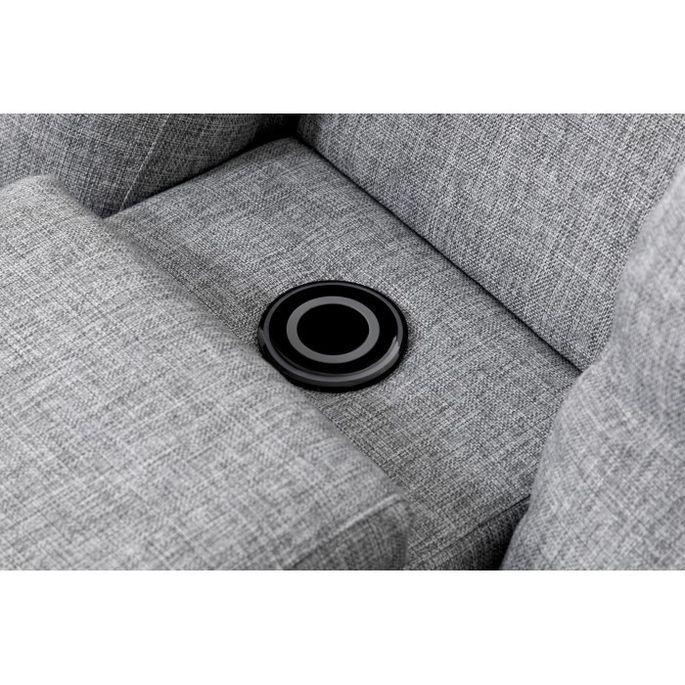 Canapé d'angle droit relax manuel 3 places tissu gris chiné avec appuis tête Helane - Photo n°9
