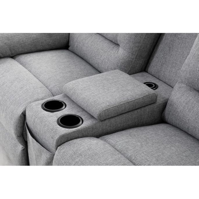 Canapé d'angle droit relax manuel 3 places tissu gris chiné avec appuis tête Helane - Photo n°10