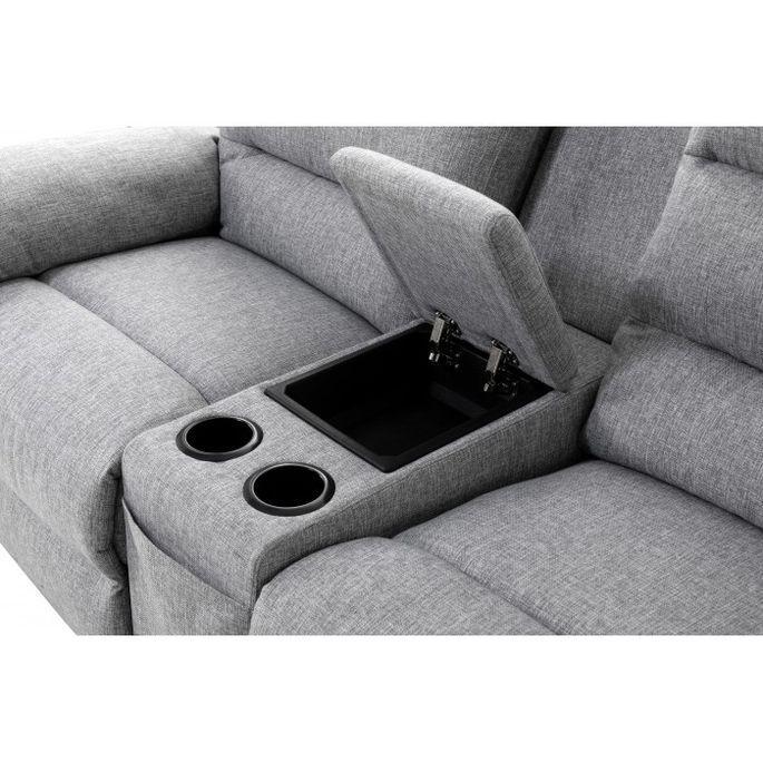 Canapé d'angle droit relax manuel 3 places tissu gris chiné avec appuis tête Helane - Photo n°11