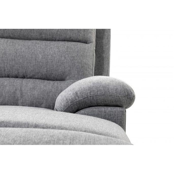 Canapé d'angle droit relax manuel 3 places tissu gris chiné avec appuis tête Helane - Photo n°12