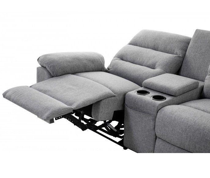 Canapé d'angle droit relax manuel 3 places tissu gris chiné avec appuis tête Helane - Photo n°13